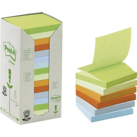 Post-it notes regnbue 76x76mm genbrug 16blk/pak