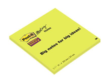 2 Blokke Post-it Super Sticky mødeblok 200x200mm 2blk/pak li