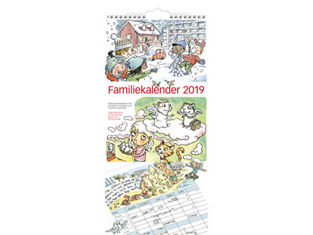Familiekalender m/illustrationer 23x50cm 19 0661 00