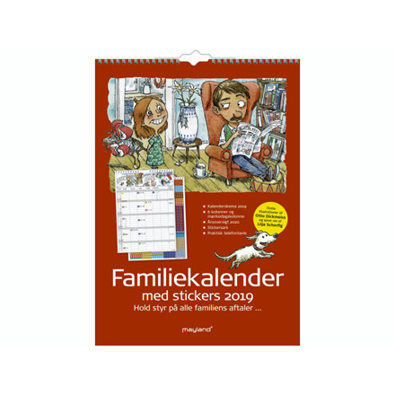 Familiekalender 6 kolonner m/stickers og illu. 29,7x42cm 19