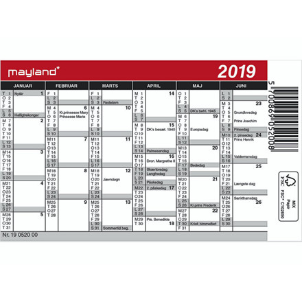 Minikalender 12x7cm 19 0520 00