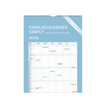 Familiekalender Simply 29,5x39cm 19 0663 60