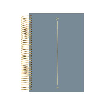 Spiralkalender tekstilpræg blå 12x17cm 1dage/side 19 2080 10