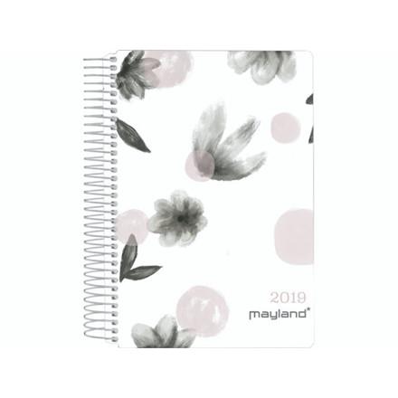 Spiralkalender blomster soft touch trend 12x17cm 1dage/side
