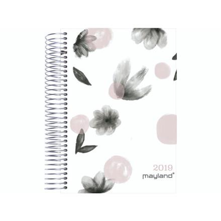Timekalender blomster soft touch trend 17x23,5cm 1dag/side 1