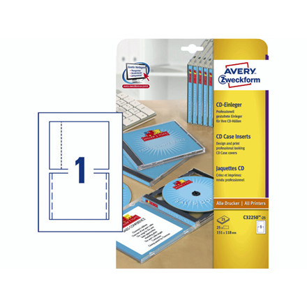 Etiket cd omslag for/bagside 25ark/pak - C32250-25