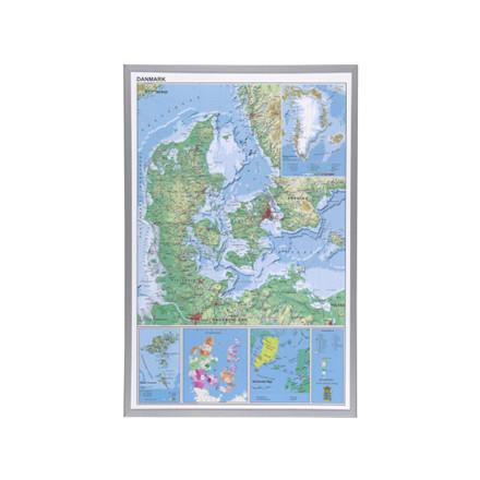 6 stk Indrammet Danmarks kort 60x90cm