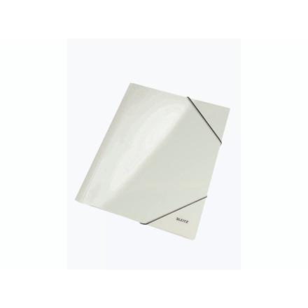 10 stk Mappe pap Leitz WOW A4 hvid m/3 klapper & elastik