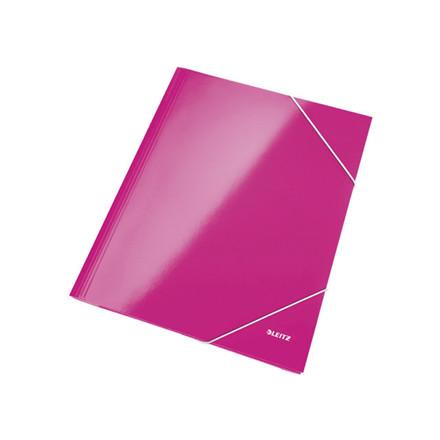 10 stk Mappe pap Leitz WOW A4 pink m/3 klapper & elastik