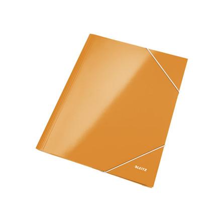 10 stk Mappe pap Leitz WOW A4 orange m/3 klapper & elastik