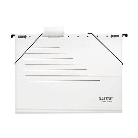 5 pakker Hængemapper Leitz Alpha Active A4 hvid m/elastik 5s