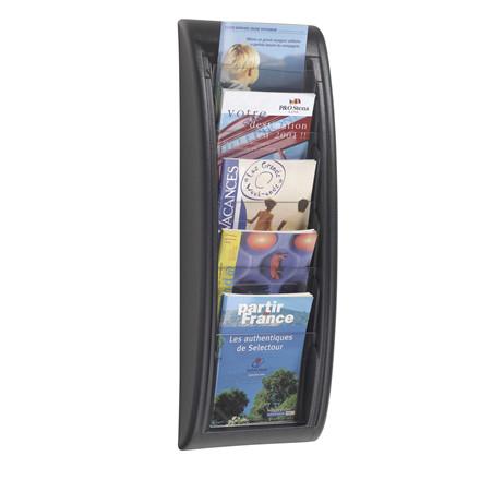 Brochureholder A5 væg Paperflow sort 5 rum 4063.01