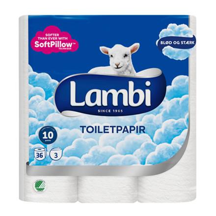 Toiletpapir Lambi 3-Lags 20m 15/ 36 ruller