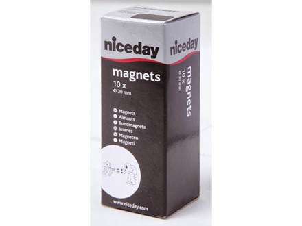 10 STK MAGNETER NICEDAY SORT Ø30MM 10STK