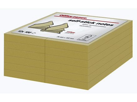12 BLOK NOTES OFFICE DEPOT GULE 102X76MM