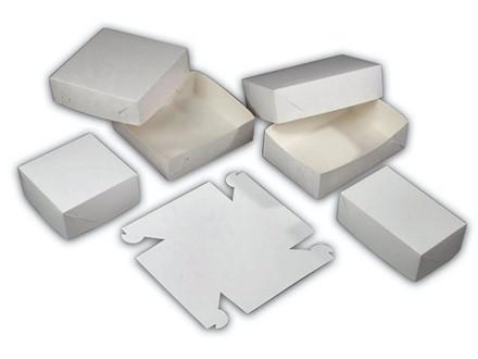 500 Stk Kageæske nr. 1 høj hvid 150x150x80mm 500stk/pak