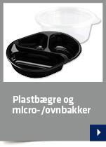 Plastbægre og micro-/ovnbakker