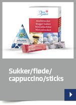 Sukker/fløde / cappuccino/Sticks