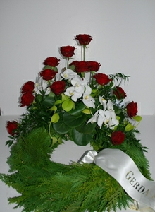 Krans med røde roser