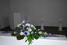 Kistepynt blå/lilla og hvide farver