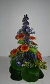 Båredekoration  i blå, grønne og orange farver.
