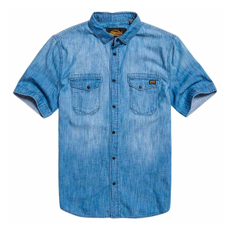 Superdry Dragway Denim Kortærmet skjorte