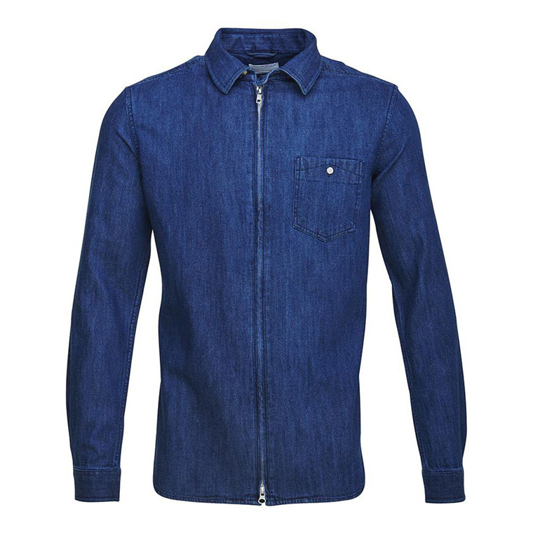 Knowledge Cotton Denim Zip Skjorte