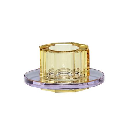 Hübsch Lysestage Glas Lilla/Gul