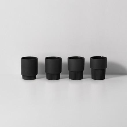 Ferm Living Groove Cups Dark Grey