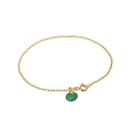 Enamel Copenhagen Ball Chain Bracelet Petrol Green Gold-Plated