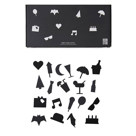 Design Letters Party Icons For Message Board Black