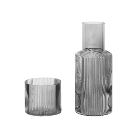 Ferm Living Ripple Carafe Set Smoked Grey