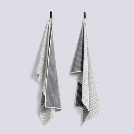 HAY Dash Grid Tea Towel Set Grey