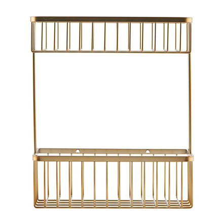 House Doctor Bath Double Basket Brushed Brass
