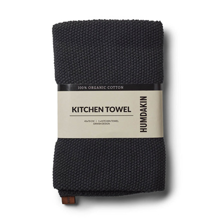 Humdakin Knitted Kitchen Tea Towel Coal