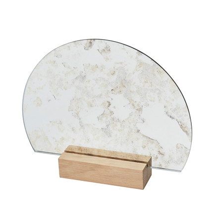 Kristina Dam Half-Moon Mirror Oak Base