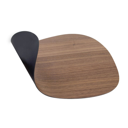 LINDDNA tableMAT Double Curve Wood Walnut/Soft Bull
