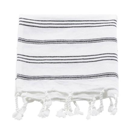 Meraki Hammam Håndklæde Hvid & Sort Stribe