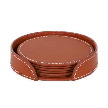 Ørskov & Co. Leather Coasters Round Cognac