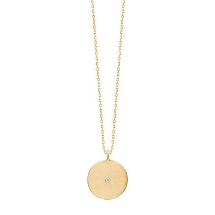 Enamel Copenhagen Rough Diamond Coin Necklace Gold-Plated