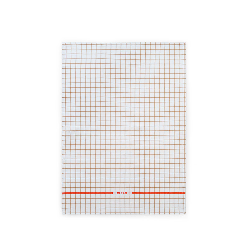 Normann Cph Ren Tea Towel Grid Sand/Spice Orange