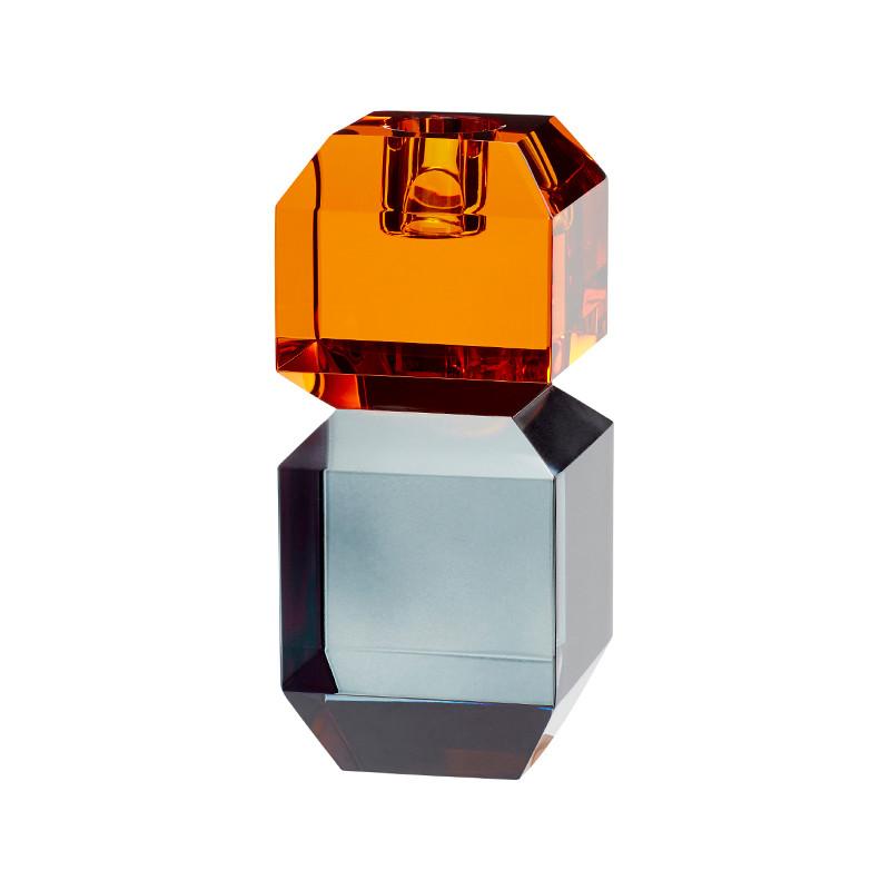 Hübsch Lysestage Glas Ravgul/Røget