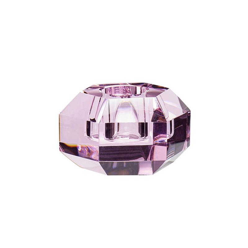 Hübsch Lysestage Glas Pink