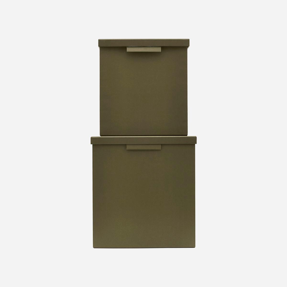 Monograph File Æsker Med Låg Kvadratisk Armygrøn