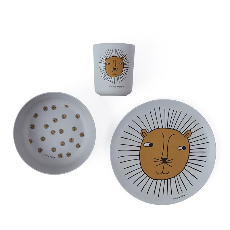 OYOY Lion Bamboo Tableware Set Grey