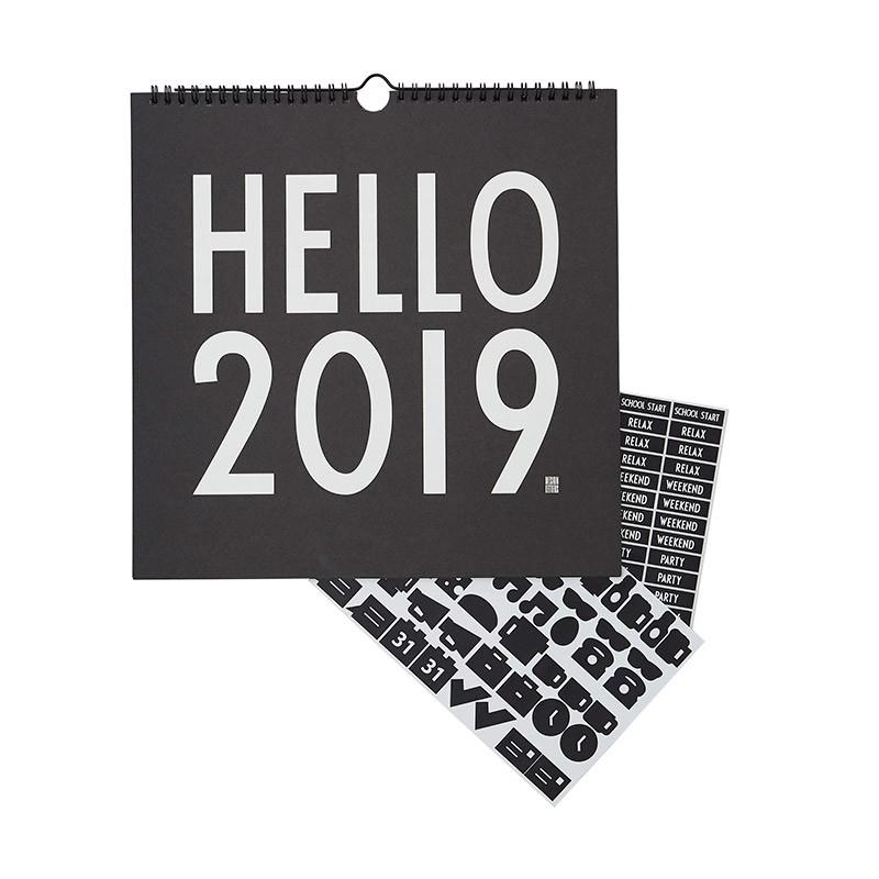 Design Letters Wall Calender 2019 Black