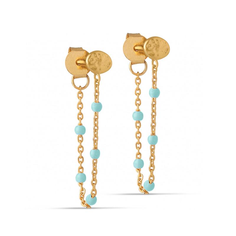 Enamel Copenhagen Lola Earrings Mint Gold-Plated