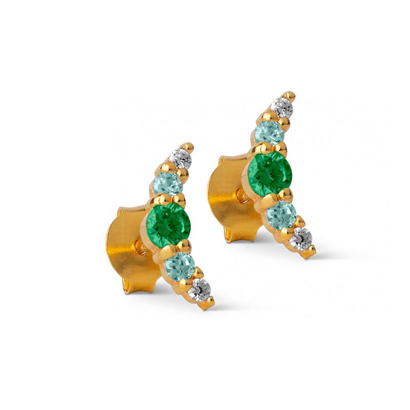 Enamel Copenhagen Refina Earrings Green Gold-Plated