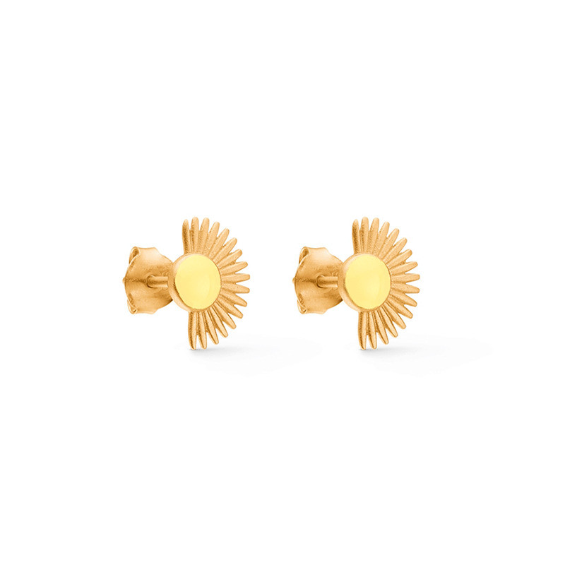 Enamel Copenhagen Soleil Studs Light Yellow Gold-Plated
