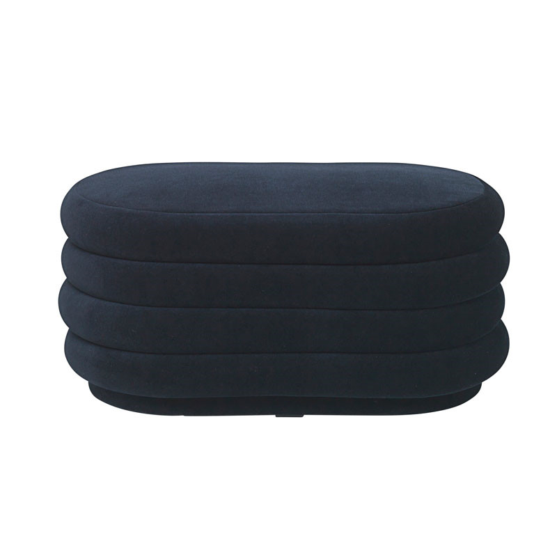 Ferm Living Pouf Oval Dark Blue Medium
